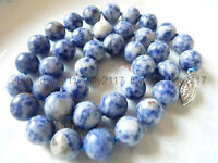 Charming Natural 10mm Blue White Lapis Lazuli Round Gemstone Beads Necklace 18""