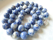"Charming Natural 10mm Blue White Lapis Lazuli Round Gemstone Beads Necklace 18"""