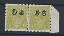 1929 Australia KGV OS Issue 4d yellow-olive Sm. Multi Wmk SG O126 Mlh pair