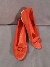 Women's Rockport Etty Enamel Moc Casual Red Suede Leather Loafers Size 8 M