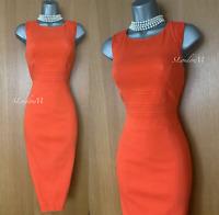 Karen Millen UK 10 Orange Cotton Jacquard Stretch Wiggle Pencil Casual Dress 38