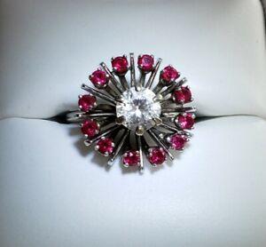Vintage 14k White Gold Round Ruby & White Topaz Ring SIZE 5.5/ Anillo de Oro