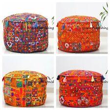 Set 4 Pcs Handmade Cotton Ottoman Patchwork Indian 18x14 Pouf Cover Stool Ethnic