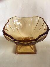Art Deco SOWERBY~*Chevron Design^~Amber Glass SUNDAE /ICE CREAM DISH-Vgc