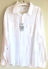 Bohio Ladies Linen Shirt Size XL White Button Down Roll Up Long sleeve NWT