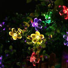 22ft 50 LED Flower Bulbs Solar Garden String Ramadan Outdoor Lights Multi Color