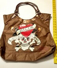 Don Ed Hardy Love Kills Slowly Tote Bag Bronze Skull & Heart Nice