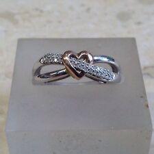 9ct 0.10ct Diamond Heart Design Ring. Size O.
