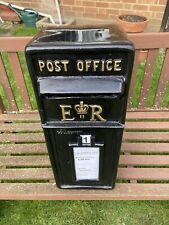 ER Postbox Letter Post Box - Cast Iron - Black - Large - Base Mount