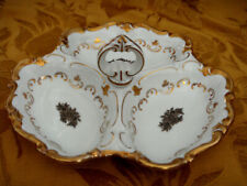 VINTAGE REICHENBACH 3-SECTION SERVING DISH WITH HANDLE GOLD ROSES MADE IN GDR