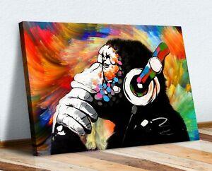 MONKEY DJ BANKSY COLOURFUL SWIRL CANVAS STREET WALL ART PRINT ARTWORK -  GORILLA