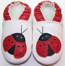Minishoezoo soft sole toddler indoor slippers ladybug white 24-36m free shipping