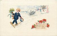 DB Embossed Postcard E444 A Happy New Year Boy Child in Snow with Snowshoes