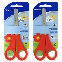 2 x Red Westcott Right Handed Kid's Children's Safety Scissors - Blunt Ended