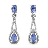 925 Sterling Silver Platinum Over Blue Tanzanite Dangle Drop Earrings Ct 0.7