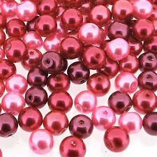 Glass Pearls Round Beads 8mm Pink Fusion Mix 100pcs (GPRD08M-PFS)
