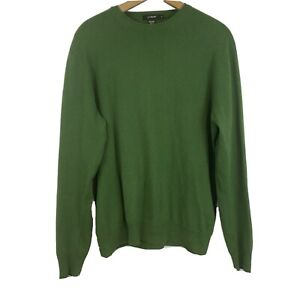 J Crew Mens Kelly Green Crew Neck Cotton Cashmere Long Sleeve Pullover Sweater M