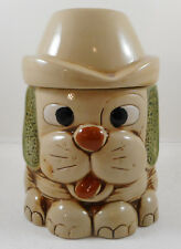"""Vintage Puppy Dog Cookie Jar Floppy Ears Hat 8"""" Canister Container"""