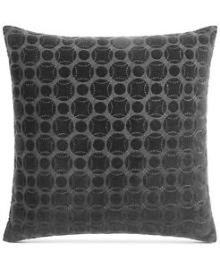 "Hotel Collection Marble Geometric 20"" Cotton Decorative Pillow - Black"