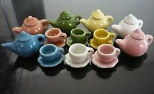18 Pcs Colorful Coffee Tea Teapot Ceramic  Dollhouse Miniatures Food Deco