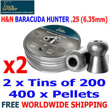 H&N BARACUDA HUNTER .25 6.35mm Airgun Pellets 2(tins)x200pcs HUNTING