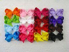 "Wholesale 16pc 3"" Boutique Hair Bows Girls Baby Alligator Clip Grosgrain Ribbon"