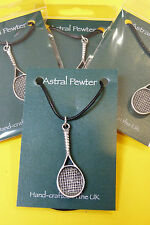PENDANT ASTRAL PEWTER TENNIS RACQUET NECKLACE HAND CRAFTED UK FINISH NEW