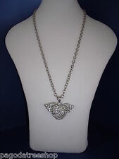 New Long Silver Necklace with Large Diamante Studded Heart & Wings Pendant