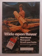 1974 Print Ad L&M Cigarettes ~ Buffed Rugged Guy Lumberjack Log Cabin