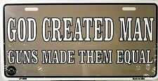 Novelty license plate 2nd ammendment New aluminum auto tag car God created Man