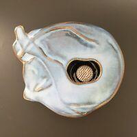 Sandra Kvalheim Studio Art Pottery Curled Up Cat Ikebana Flower Vase w/ Kenzan