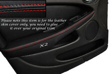 RED STITCH 2X FRONT DOOR ARMREST SKIN COVERS FITS JAGUAR X TYPE 01-09