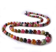 Natural Multicolor Round Bead Genuine Tourmaline Stone Necklace Fine Jewelry