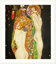 Water Serpents by Gustav Klimt 75cm x 62.5cm Framed White