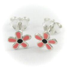 Flower Post or Stud Earrings - Pink & Black Enamel over SOLID Sterling Silver