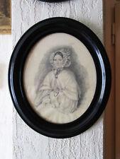 Superbe ancien dessin mine de plomb XIXe portrait de femme signé 1837 tableau.