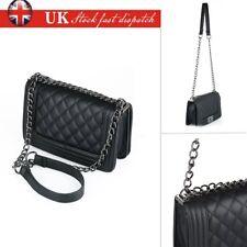 5b0da70d21 New Women Quilted Leather Shoulder Messenger Chain handbag black fashion Bag  UK
