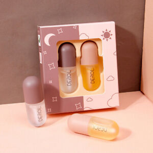 2Pcs/Set Natural Lip Plumper Plump Serum Enhancer Maximizer Lip Gloss Plumping
