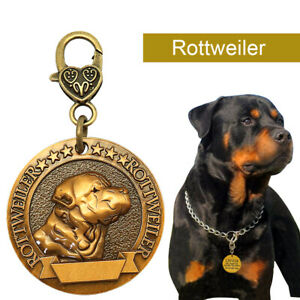 Rottweiler Tag 3D Breed Pet Name ID Tag for Collar Personalised Disc Engraved