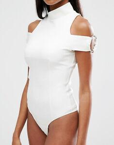Lavish Alice White High Neck Silver Ring Body Top cold shoulder Vest 6 NEW