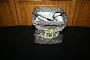 """Thirty One 31 Littles Carry All Caddy Brown Dots Embroidered """"B"""" VGUC"""