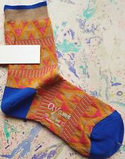 Ayame Japan Women's Short Socks Triangle Geometric UK 4-7 EU 37-40 MustardYellow