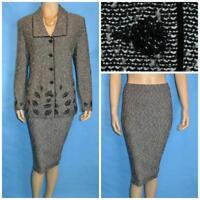ST. JOHN Collection KNIT BLACK JACKET & SKIRT 2pc Suit L 10 12 Cream Leaf Motif