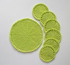 Handmade crochet placemate and 6x coasters, citrus fruit slice shaped coasters