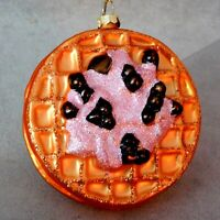 Christmas Ornament Glass VX FOOD NEW WAFFLE w/ Berries Yummy RANA'S USA SELLER