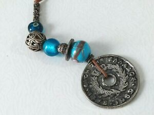 Vintage Greece 10 Drachmai 1969 Token Coin Wall Decoration Charm with Beads