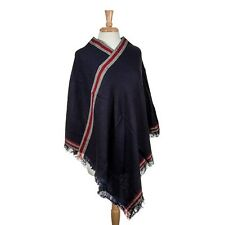 NWT Navy Blue & Red Poncho Shawl Cape With Fringe One Size Fits Most