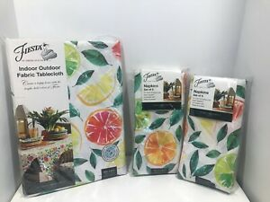 """Fiesta By Town And Country Living- Tablecloth 60""""x84""""/8 Napkins 19""""x19"""" Citrus B"""