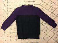 J Crew 100% Merino Wool Sweater Navy Purple Size Small EUC! C4