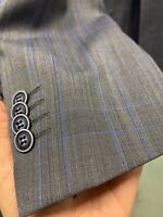 New 42R Men's SLIM Grey Vest Suit 100% Wool Super 150 Made in Italy Ret/$1295